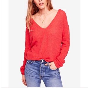 Free People Gossamer V neck in Coral NWT